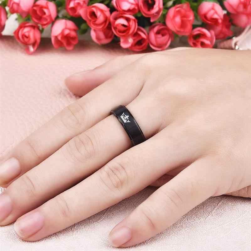 Jiayiqi แฟชั่น Queen ของเธอคู่ King Crown แหวนแต่งงานสแตนเลสแหวนผู้ชายเครื่องประดับ Silver/ Black สีของขวัญ