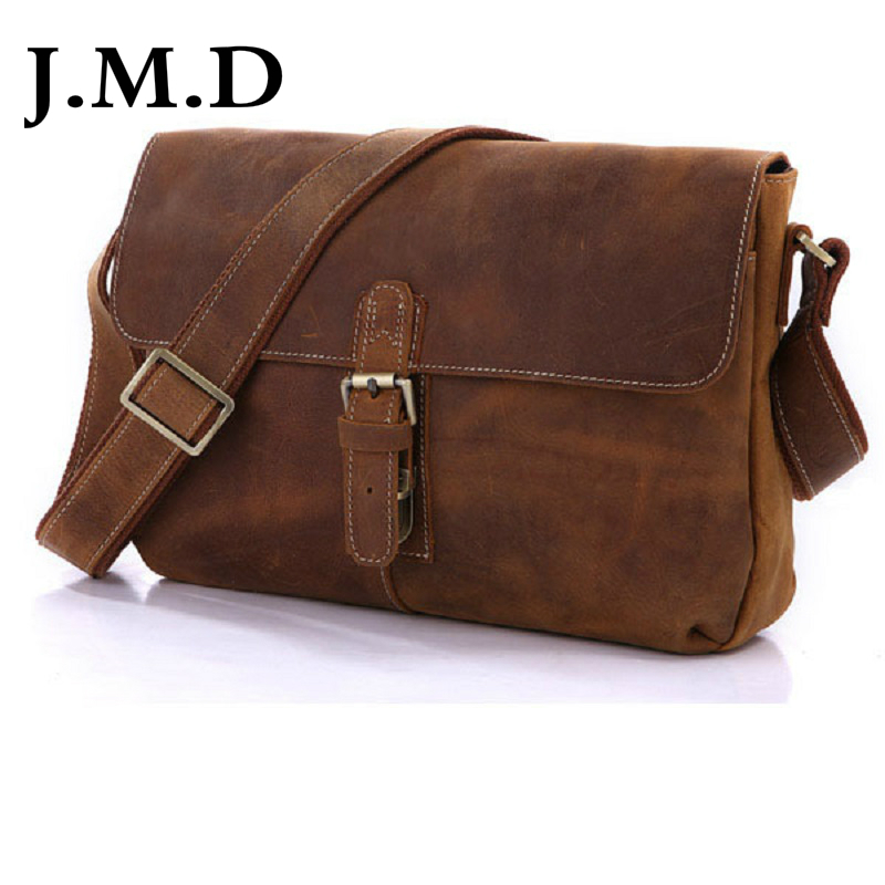J.M.D 100% Men's Fashion Leather Bag Crazy Horse Leather Cross Body Briefcase Sling Bag Shoulder Messenger Bag 7084B Increase