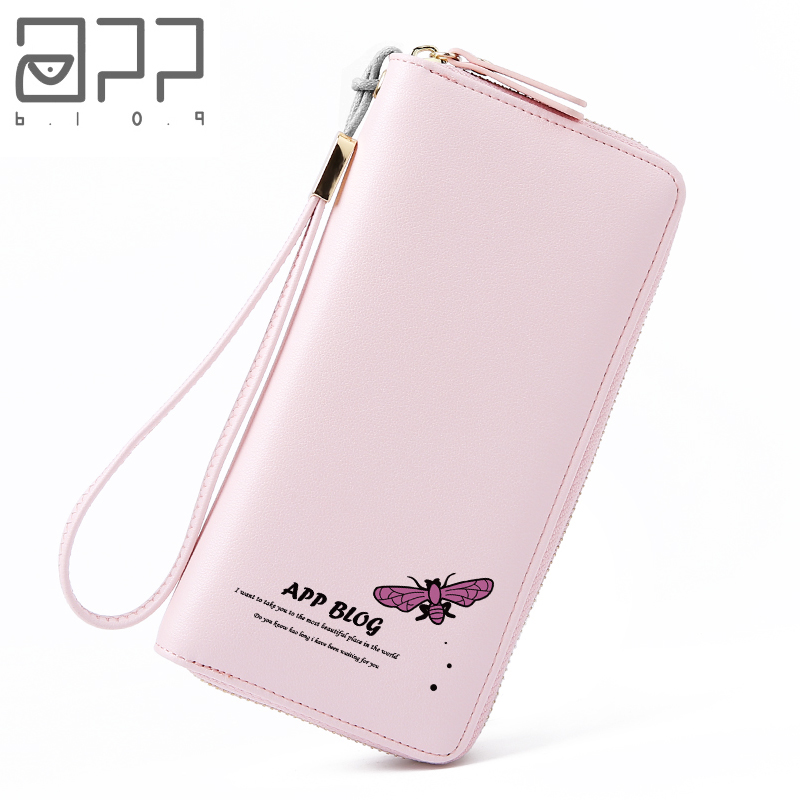 APP BLOG Luxury Brand Original Simple Butterfly Women's Purse Fresh Clutch Femme Wallet Phone Key Card Holder Bag With Strap
