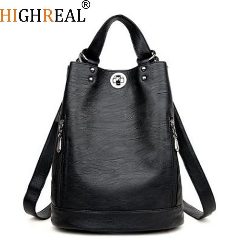 Fashion Women Backpack Female Wheepskin Leather Women's Backpacks Bagpack Bags Travel Bag back pack Multi-purpose Shoulder bag