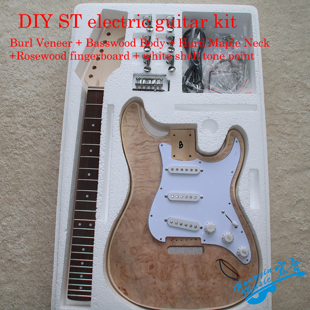 ST Style Electric Guitar DIY Kit Burl Veneer Basswood Body Hard Maple Neck Rosewood Fingerboard White Shell Tone Point Set white tiger pattern 3a grade maple veneer lp style electric guitar diy kit african mahogany okoume body neck rosewood fretboard