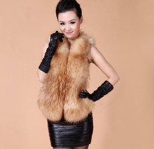 Lady Fashion Genuine real natural raccoon fur vest/Waistcoat Style Newest women jacket 3XL Free shipping