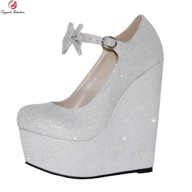 Original Intention New Stylish Women Pumps Platform Round Toe Wedges Pumps  Fashion Silver Shoes Woman Plus eb3653b05caf