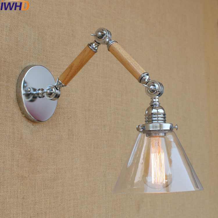 IWHD Retro Glass Arandela Led Vintage Industrial Wall Light Bedroom Bathroom Wall Lamps for Reading Swing Long Arm Sconce E27IWHD Retro Glass Arandela Led Vintage Industrial Wall Light Bedroom Bathroom Wall Lamps for Reading Swing Long Arm Sconce E27