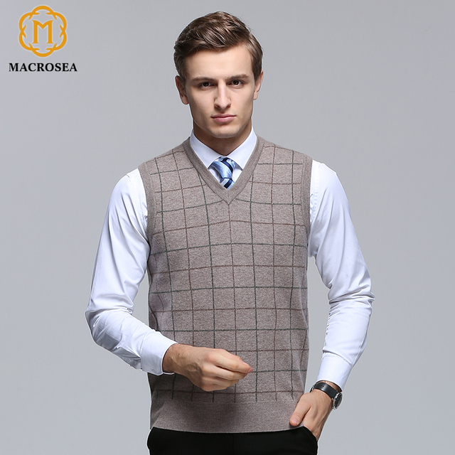 2c5aae2dc6 MACROSEA 100% Wool Men s Plaid Business Casual Vest Pullover Men V-neck  Sleeveless Kitting Vest Sweater Male Wool Vest