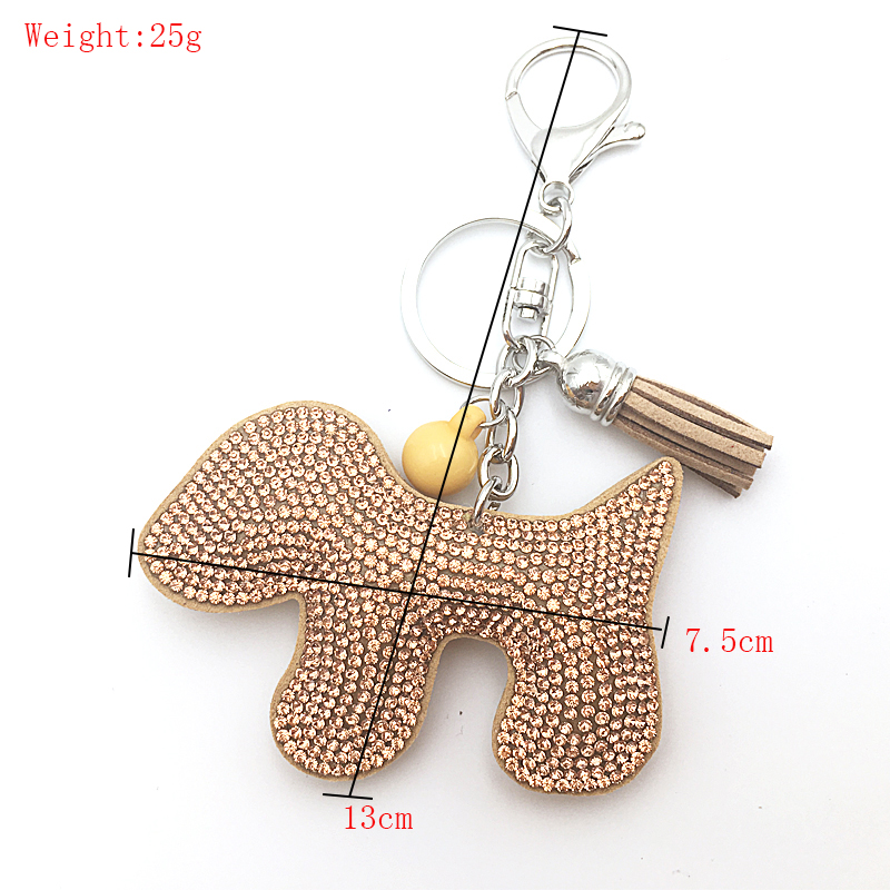 2018 women keychain Rhinestone cute dog shape 10 color fur keychain leather fringed key wholesale in Key Chains from Jewelry Accessories