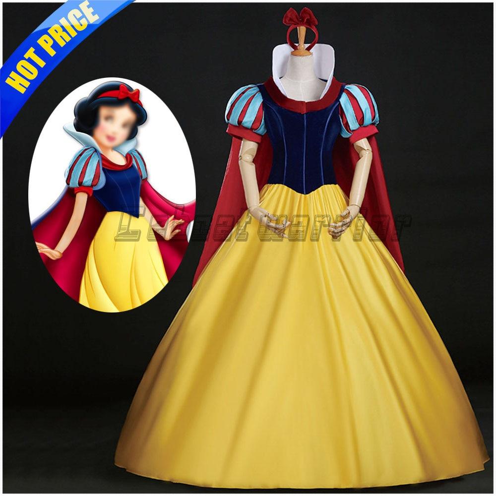 Movie Snow White adult Princess snow white cosplay costume dress with headband clock cape Custom made