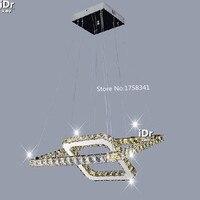 Aço inoxidável moderno e minimalista led quadrado lustre de cristal lâmpada quarto luxo sala estar iluminação nós 007 crystal chandelier lamp chandelier lampsquare crystal chandelier -