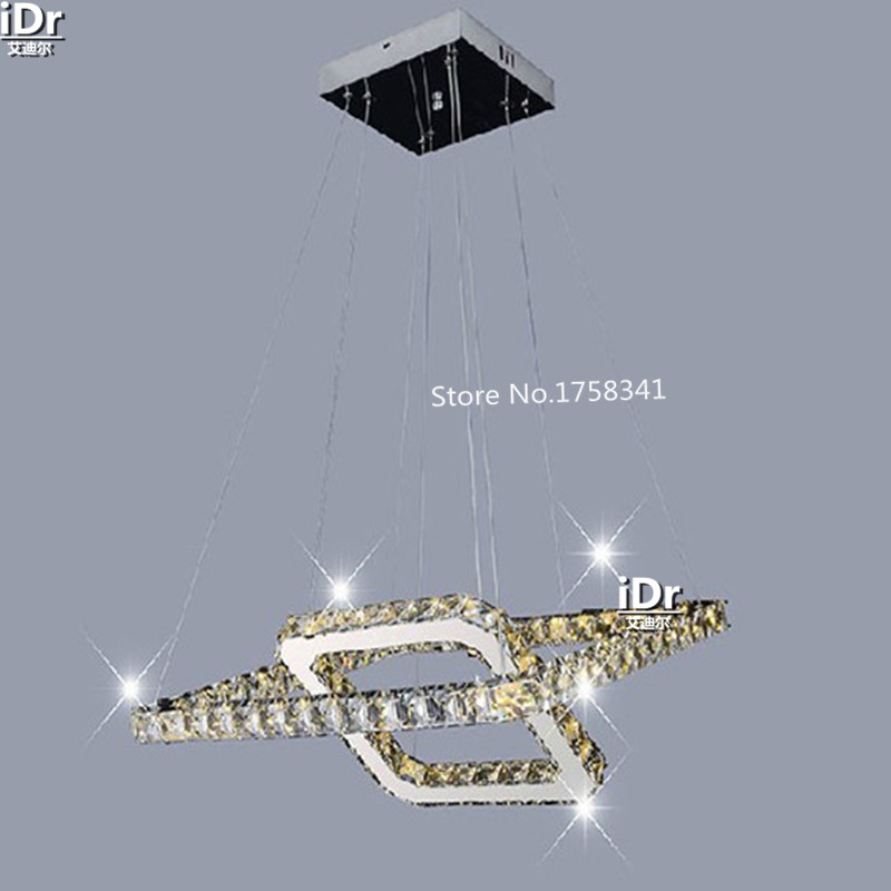 Modern minimalist stainless steel LED Square crystal chandelier lamp bedroom luxury living room lighting WE-007 restaurant crystal lamp square postmodern simple stainless steel bronze villa luxury led modern crystal chandelier for bedroom