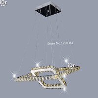 Modern minimalist stainless steel LED Square crystal chandelier lamp bedroom luxury living room lighting WE 007