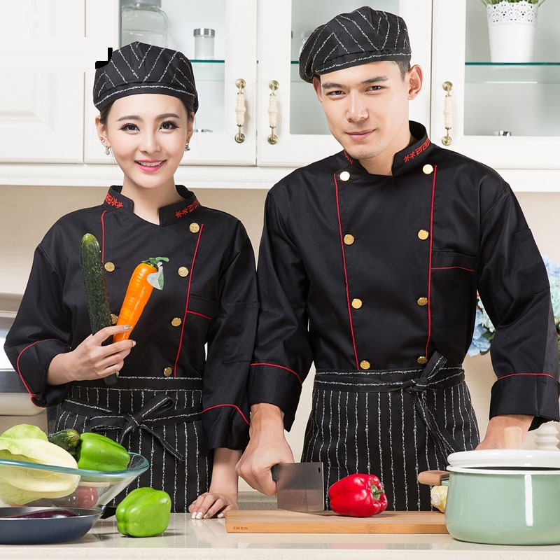 (10set-Hat&Shirt&Apron)Cook Suit Black Long-sleeve Uniform Clothes Work Wear Cake Pastry Chef Uniform The Bakers Overalls