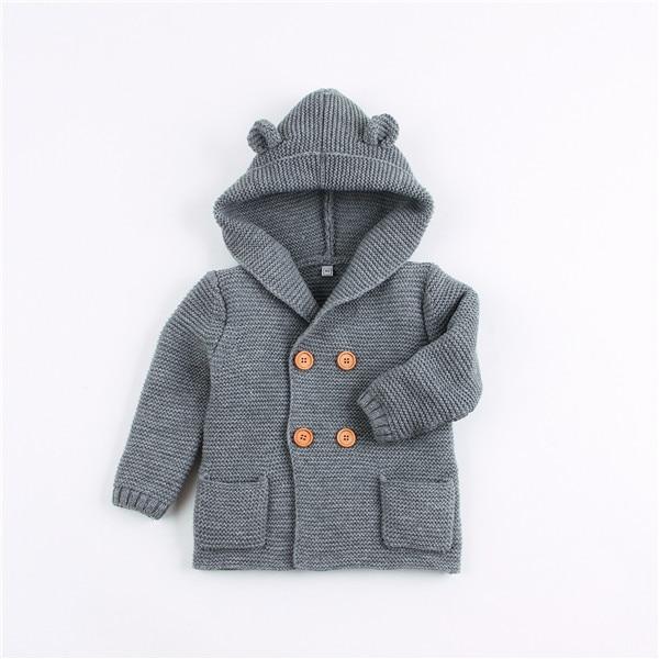 Winter Warm Newborn Baby Sweater Fur Hood Detachable Grey Infant Boys Girl Knitted Cardigan Fall Outwear Children Knitwear SW11 (1)