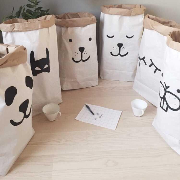 Bolsa de papel kraft pesado bolsa de organizador de la habitación de los niños para guardar juguetes y ropa de bebé para la decoración de la tienda