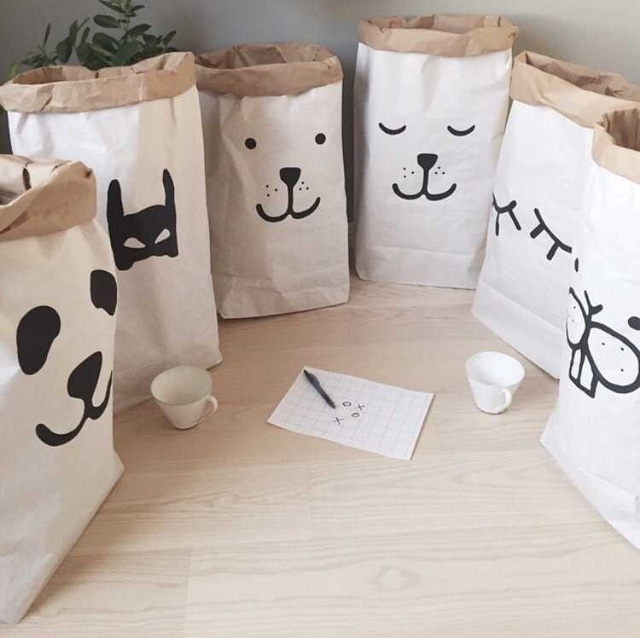 Superbe Heavy Kraft Paper Bag Children Room Organizer Bag Storage For Toy And Baby  Clothings For Shop