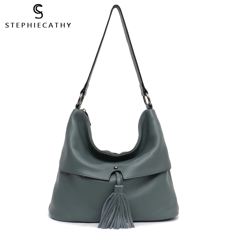 SC Genuine Leather Hobo Bags for Women Large Capacity Soft Shoulder Bags Real Cow Leather Handbags