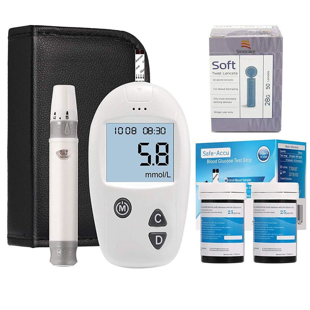 (Mg/dL VS mmol/L) Sinocare sans danger-glucomètre Accu et 100 bandelettes de Test lancette Glm exacte glucomètre testeur de diabète compteur de sucre