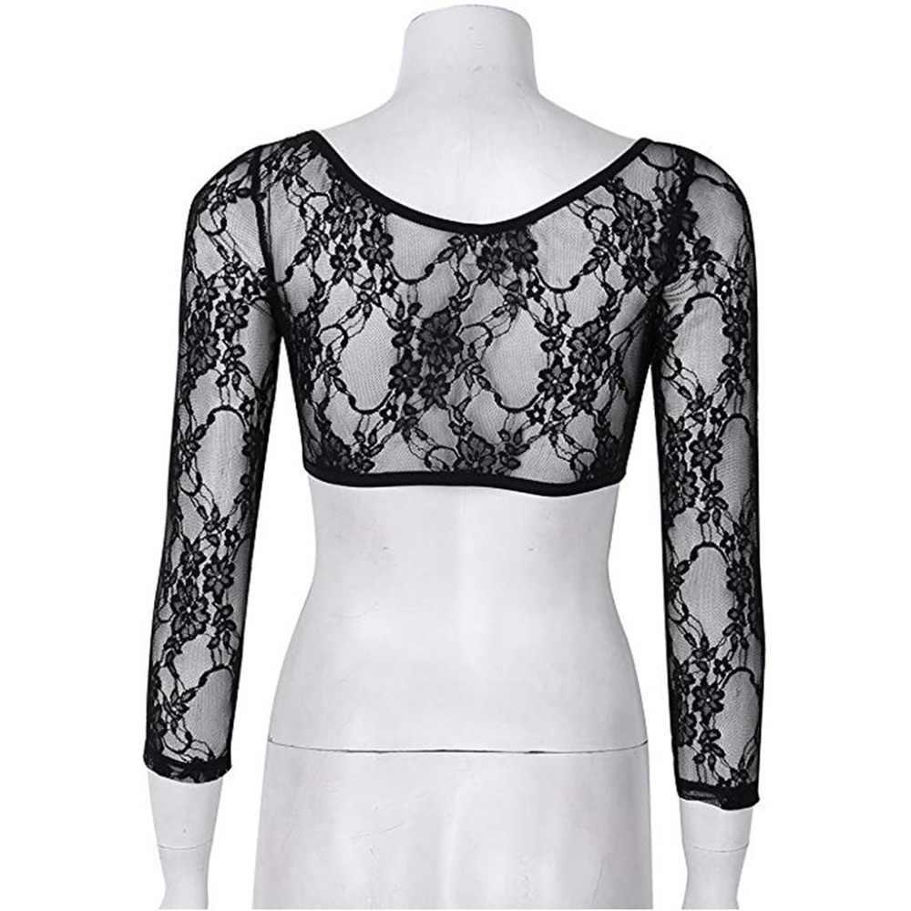 2020 Nieuwe Mode Vrouwen Blouse Tops Lange Mouw V-hals Korte Mesh Lace Crop Tops Shirts Zomer Womens Perspectief Vest S006