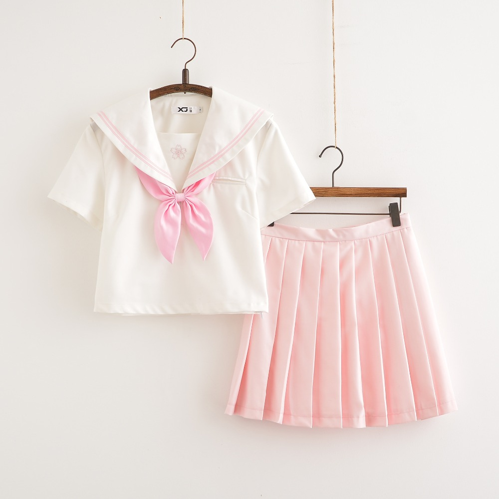 Sakura School Dress Lolita Summer Pink Skirt JK Japanese School Uniforms Top+Skirt+Tie Teen Girls Anime Cosplay Sailor Suits