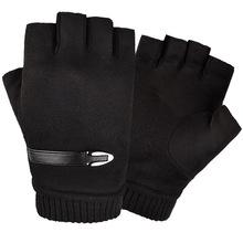 2019 nowe czarne rękawiczki rękawiczki bez palców guantes sin dedos męskie rękawiczki bez palców guantes de cuero hombre męskie zimowe rękawiczki tanie tanio Prawdziwej skóry Dla dorosłych Stałe Nadgarstek Moda
