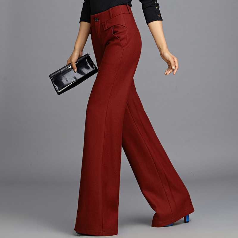 Women Grade Wool Trousers Fashion Wide Leg Capris OL Work Wear Casual Pants Formal Straight Pants Elegant Wine Red Long Pants