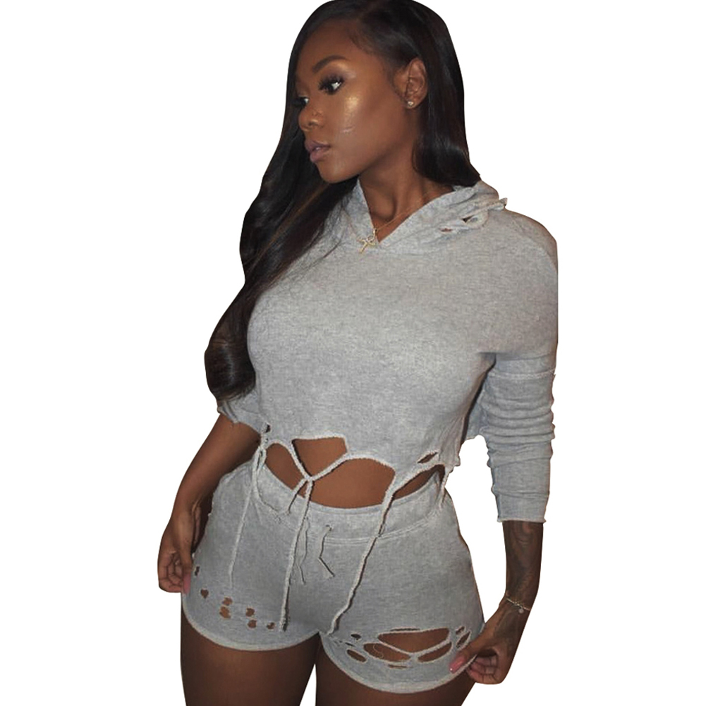 sexy womens ripped two piece set outfits hooded sweatsuit
