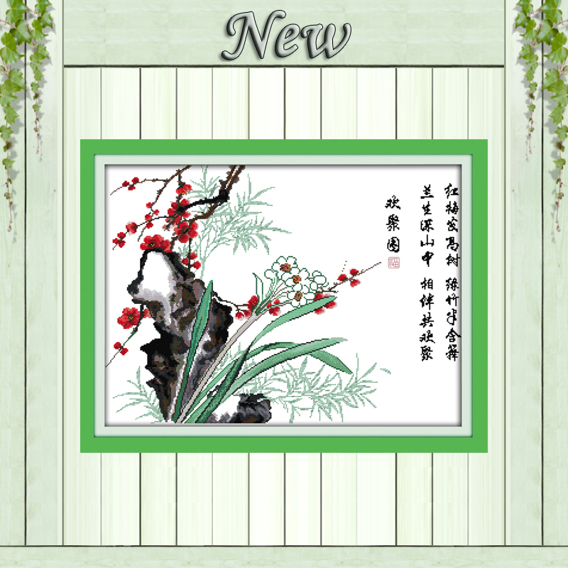 Reunion picture flowers plum blossom painting counted print on canvas DMC 14CT 11CT Cross Stitch Needlework Sets Embroidery kits image