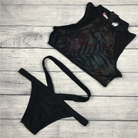 2015 Aliexpress New Style High Neck Halter Bikini Set Printing Triangl Swimwear Retro Brazilian Underwear Beach