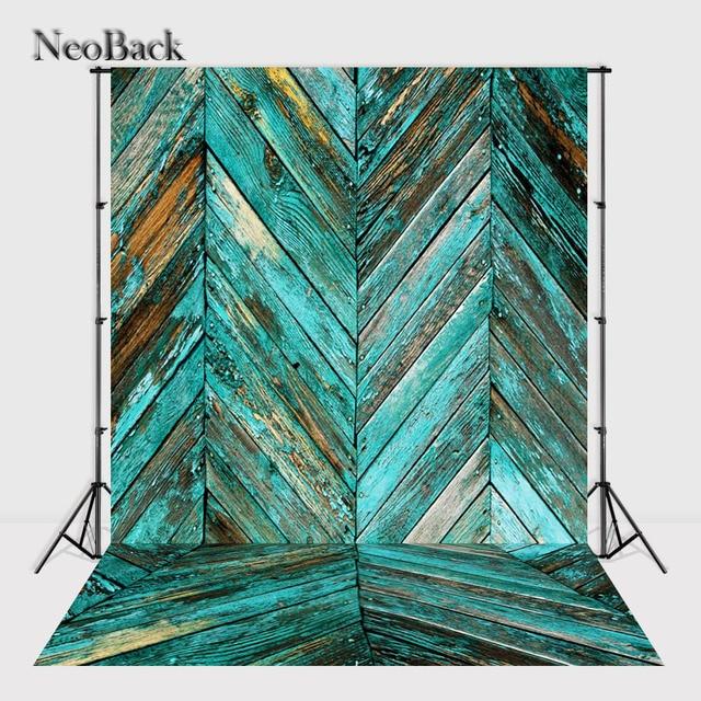 NeoBack 5x7ft Vinylgewebe Holz Wand Boden Plank Foto Hintergrund Jade Farbe  Foto Studio Party Fotohintergründe A2513
