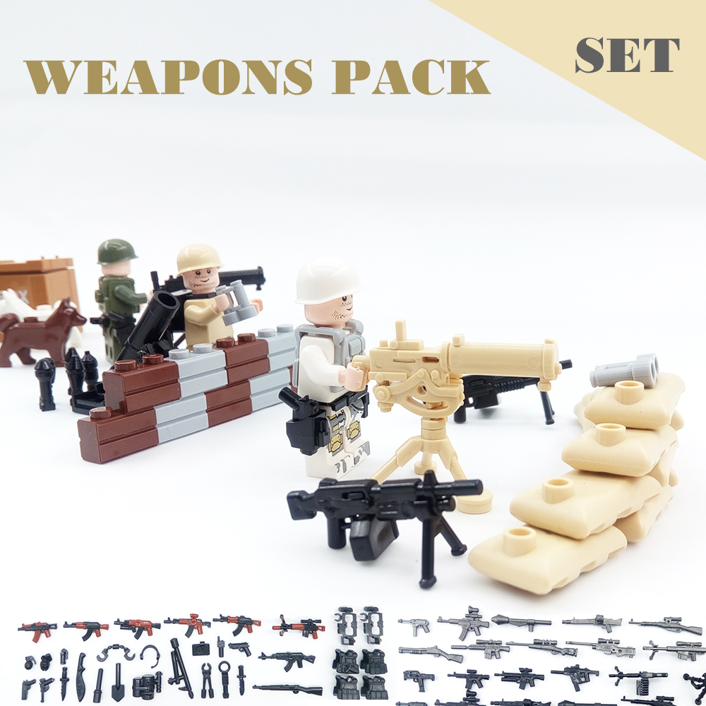 88PCS/Lot Military Scene Series Weapon Soldier Army Police SWAT Gun WW2 War Model Building Block Brick Action Figure Legoed Toy