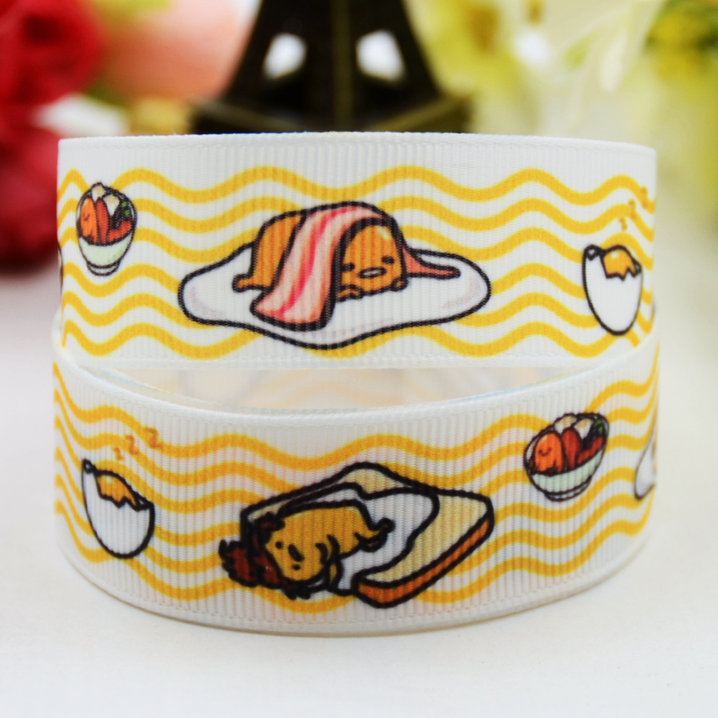7/8 (22mm) Ruban satin Gudetama tape cartoon Printed Grosgrain Ribbon DIY sewing supplies Bow hair accessories X-00879 10Y