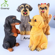 Home Decoration Dog Figures Figurines Artware Lifelike Resin Puppys Birthday Gift For Office Decoration 1 Piece Free Shipping