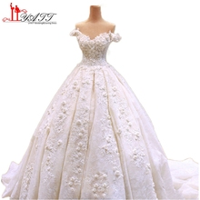 Vestido De Noiva Lace Wedding Dresses With 3D Handmade Flowers 2017 Fashion Court Train Wedding Party Dresses Bridal Gowns LY473
