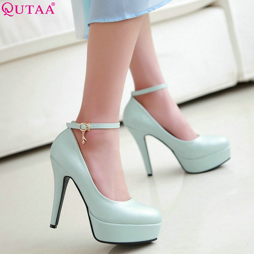 QUTAA 2020 Women Pumps Women Shoes All Match Thin High Heel Pointed Toe Pu Leather Spring/autumn Ladies Wedding Pumps Size 34-43