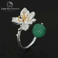 Lotus Fun Moment Real 925 Sterling Silver Natural Handmade Fashion Jewelry Flower Ring Lotus Whispers Rings