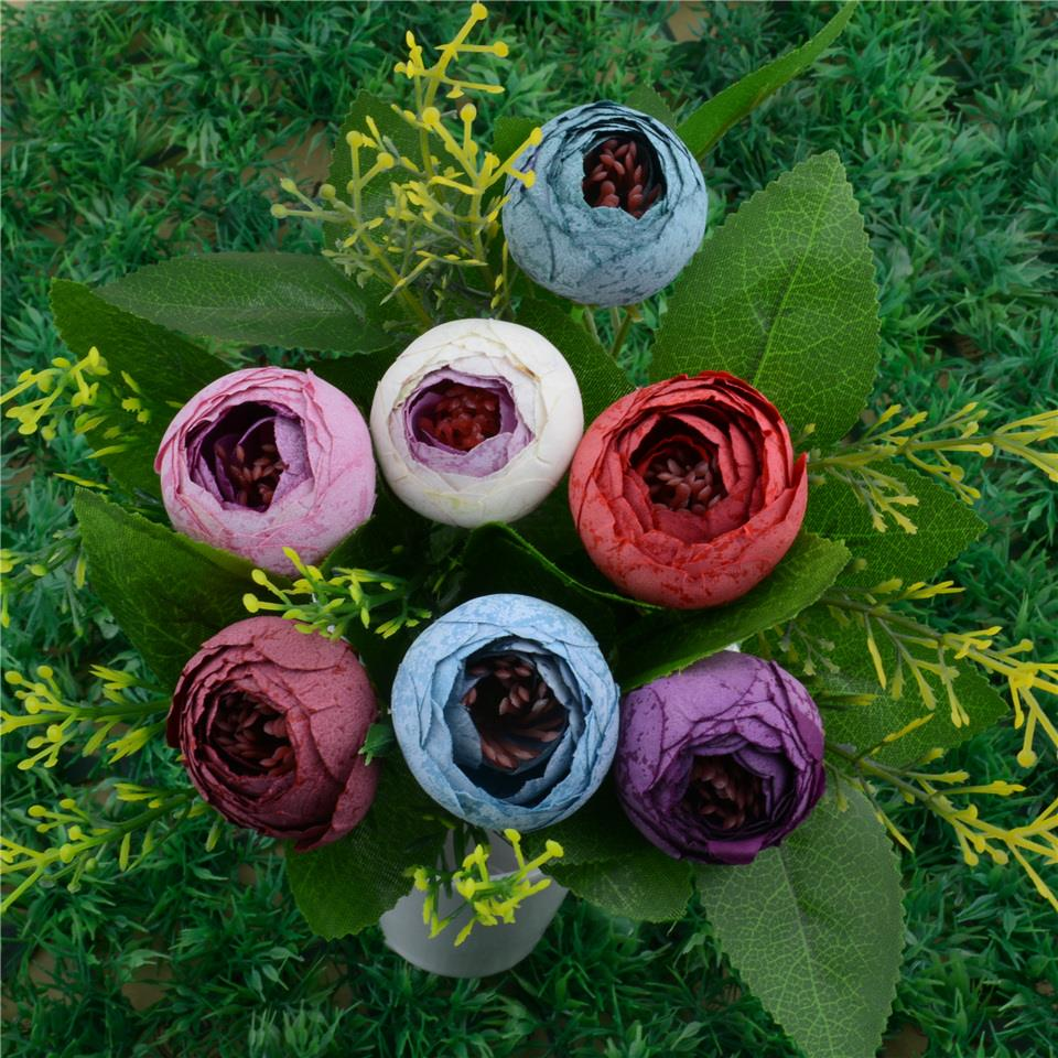 50pcs Spring Silk Mini Small Tea Bud Artificial Flower For Wedding Home Decoration Camellia Mariage Flores Satmen Flowers Plants
