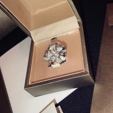 SLJELY Luxury 925 Sterling Silver CZ Zircon Stones Flower Ri