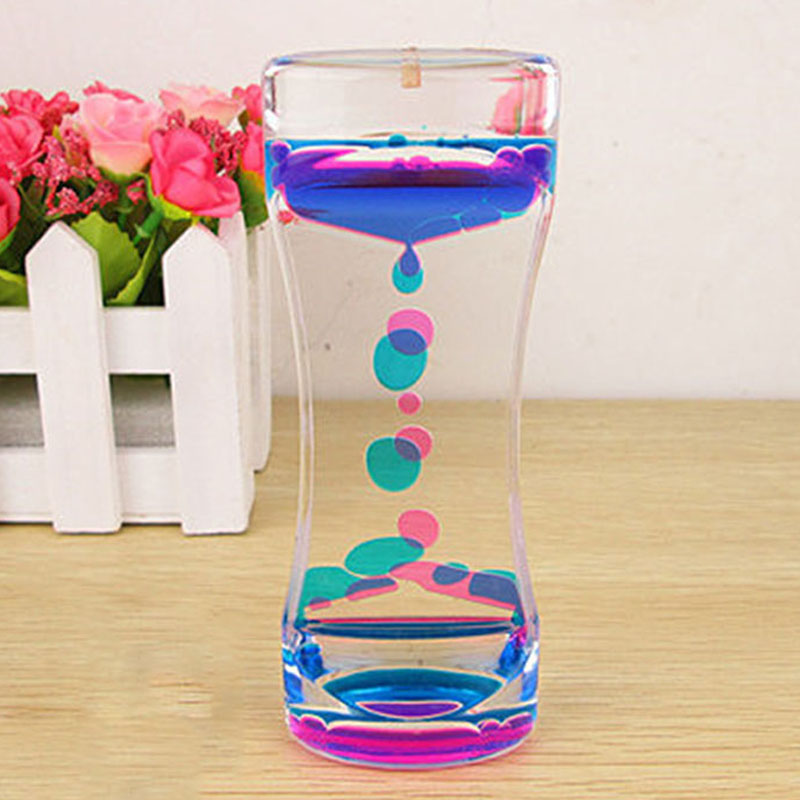 Hot Floating Color Mix Illusion Timer Liquid Motion Visual Slim liquid Oil Acrylic Hourglass Timer Clock Ornament Desk(China)