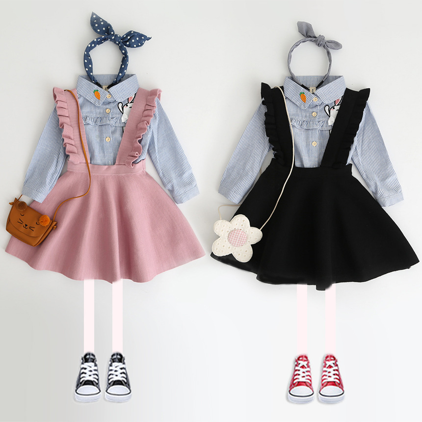 цена Autumn Winter knitted ruched strap baby girls suspender skirt kids fashion skirt children vintage skirt 3 to 9 yrs