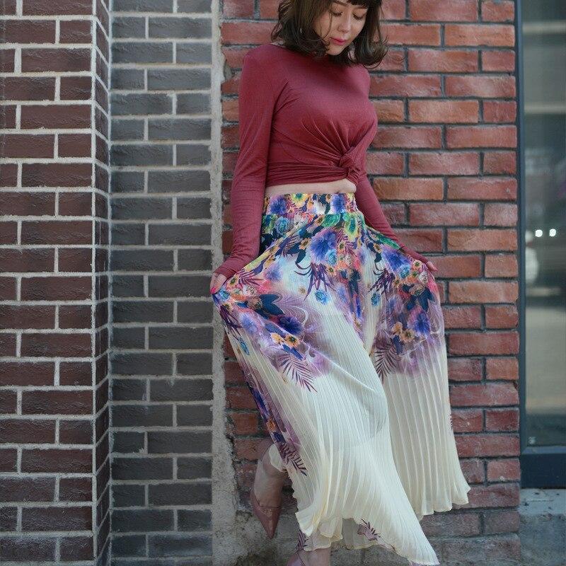 2017 Faltenröcke Frauen Weibliche Sommermode Hohe Taille Gerade Langen Rock Elegante Vintage Casual Jupe Saias