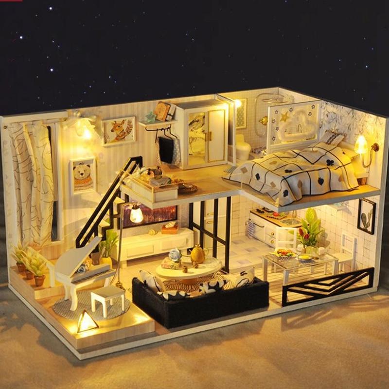 Bricolage maison de poupée jouet casa en bois Miniatura chambre boîte maisons de poupée Miniature maison de poupée jouets avec meubles LED lumières poppenhuis