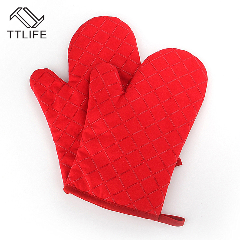 TTLIFE 1piece Heat Resistant Thick Silicon Kitchen Barbecue Oven Cooking  Glove BBQ Grill Glove Oven Mitt Baking Glove