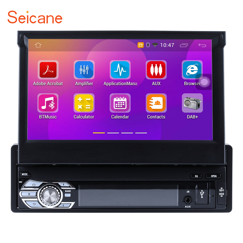 Seicane Android 6.0 7inch 1 DIN Car Stereo CD DVD Audio Player Radio GPS Navigation System Bluetooth MP3 Music WIFI