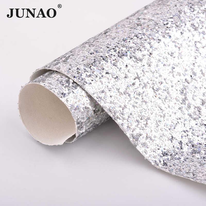 JUNAO 20*34 cm Prata Ouro Preto Chunky Glitter Lantejoulas Paillette Couro Falso Tecido de Couro Sintético Artificial Folhas de Tecido