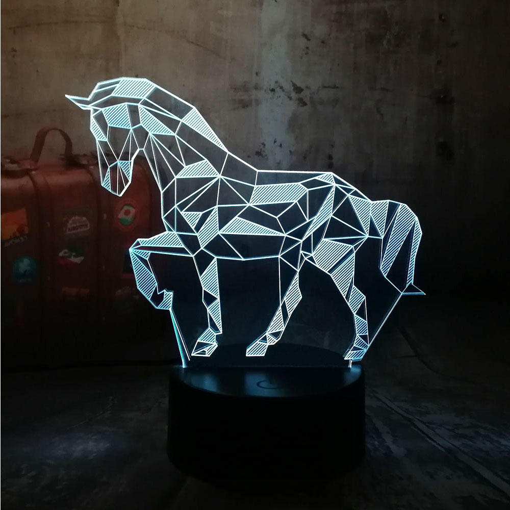 Novelty 3D LED Desk Lamp Horse Steed RGB Night Light USB Remote Control Home Decro Christmas Gift for Kids Baby Sleep Lamp Lava beiaidi 7 color usb rechargeable rabbit led night light dimmable animal cartoon light with remote baby kids christmas gift lamp