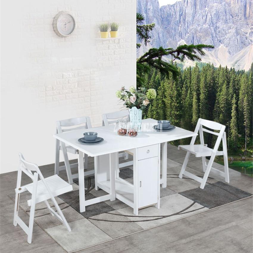 Ensemble de chaise de Table en bois massif ménage cuisine minimaliste moderne Table à manger télescopique petite Table à manger pliante avec 4 chaises