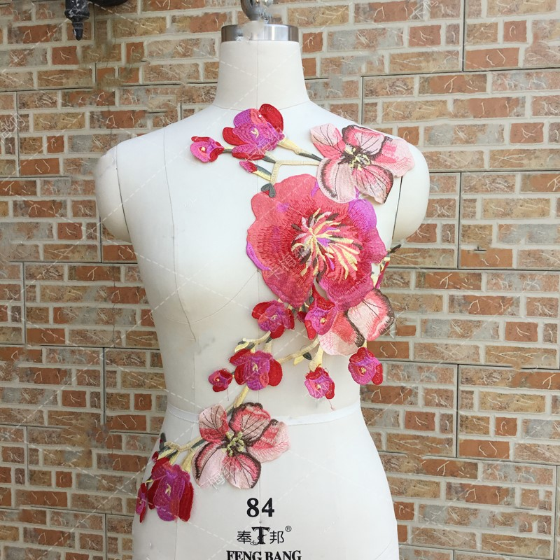 52 5 33cm Large Embroidered Red Flower Patches Sew On Floral Patches Stickers Clothing Wedding Dress Lace Appliques Accessories in Patches from Home Garden