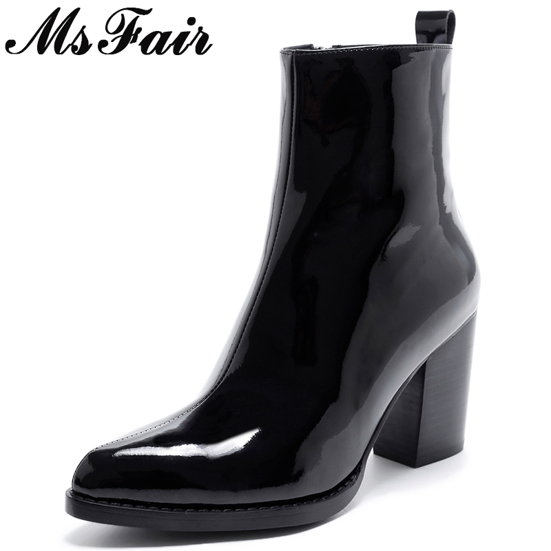 все цены на MsFair Pointed Toe High Heel Women Boots Genuine Leather Zipper Ankle Boots Women Shoes Winter Elegant Black Boots Shoes Woman онлайн