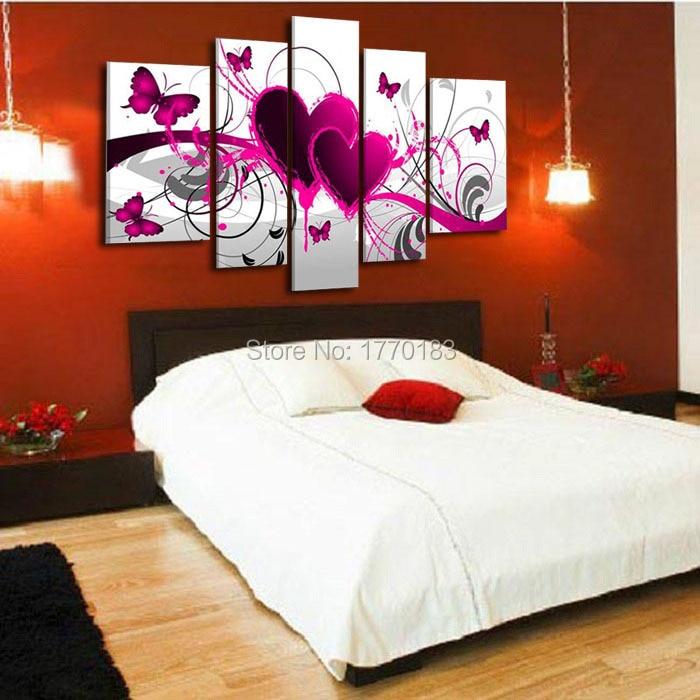 5 pezzi quadri moderni pittura a olio cuore rosso di amore tela per ...