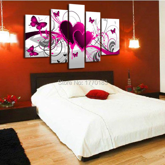 5 pieces modern oil painting pictures red heart of love for Home decoration pieces