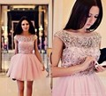 Delicate Crystal Peach Color Short Cocktail Dress Dazzling Beading Short Cocktail Dresses O-neck Short Cap Sleeves A-line